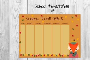 School Timetable, Fox Timetable Graphic Teaching Materials By Igraphic Studio