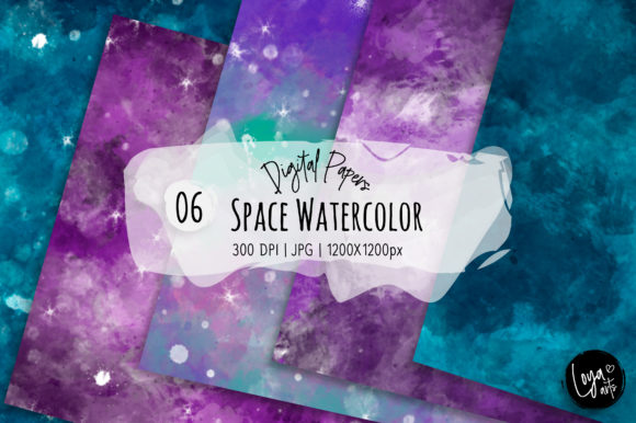 Print on Demand: Space Watercolor Digital Paper Set Graphic Textures By loyaarts