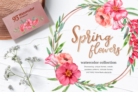 Spring Blossoms Watercolor Set Graphic Illustrations By WatercolorEps