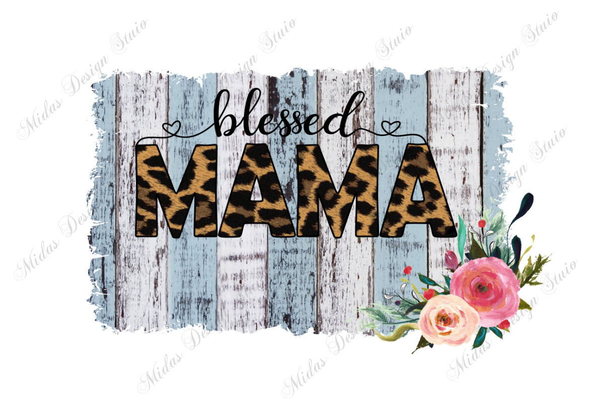 Leopard Sunflower Blessed MOMA Sublimation Sublimation PNG Watercolor Flower Clip-art Designs for Transfers Sublimation Graphic