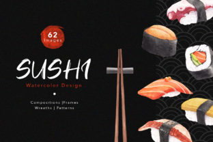 Sushi & Sashimi Japanese Food Graphic Illustrations By WatercolorEps