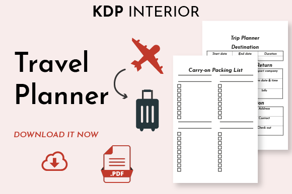 Travel Planner Kdp Interior [PDF] Graphic KDP Interiors By DoMePlanners