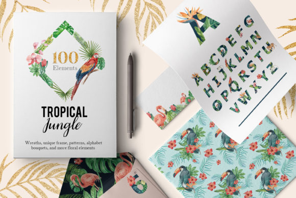 Tropical Jungle Watercolor Set Graphic Illustrations By WatercolorEps