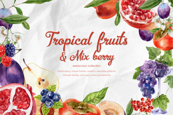 Tropical Fruits & Mix-berry Watercolor Graphic Illustrations By WatercolorEps