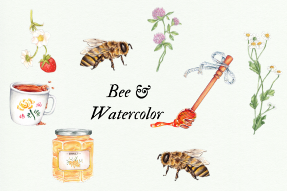 Watercolor Bee Clipart, Watercolor Honey Graphic Illustrations By Aneta Design