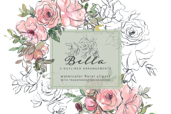 Watercolor Blush Outlined Floral Clipart Graphic Illustrations By Patishop Art