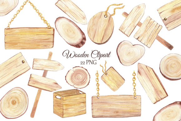 Print on Demand: Watercolor Wooden Clipart Graphic Illustrations By s.yanyeva