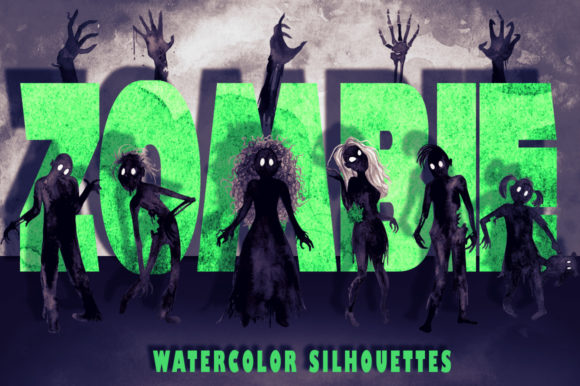 Watercolor Zombie Silhouettes Graphic Illustrations By Dapper Dudell