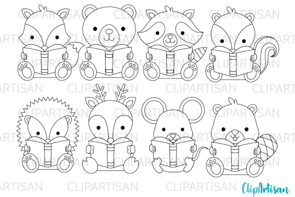Woodland Animals Reading Clip Art Graphic Illustrations By ClipArtisan
