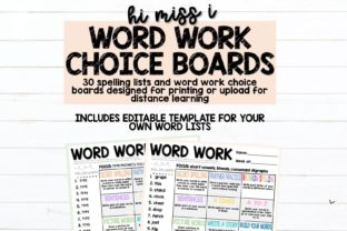 Word Work Choice Board + Spelling Lists Graphic 2nd grade By hi miss i 1