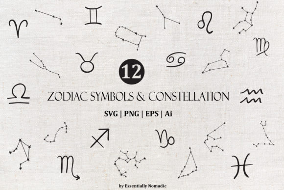 Zodiac Sign and Symbol Clipart PNG SVG Graphic Illustrations By EssentiallyNomadic