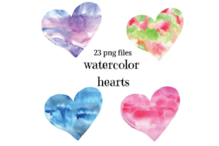 Atercolor Hearts Clip Watercolor Texture Graphic Illustrations By Aneta Design