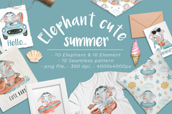 Print on Demand: Cute Elephant Summer Watercolor Set Graphic Illustrations By OrchidArt