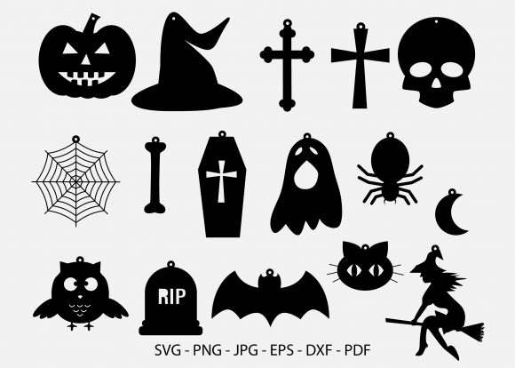 16 Halloween Earrings,  Halloween Graphic Crafts By RedCreations