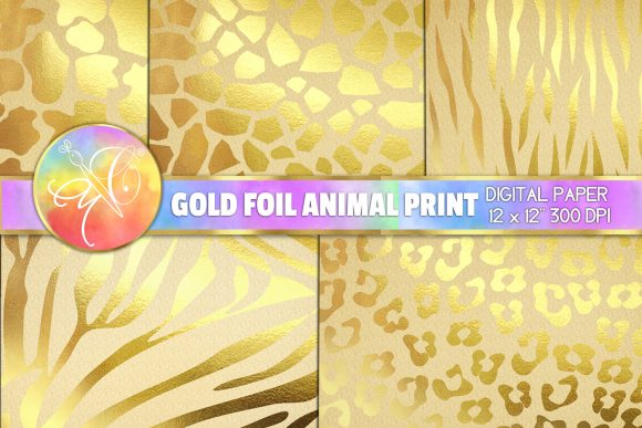 Animal Print Gold Foil Digital Paper Graphic Backgrounds By paperart.bymc