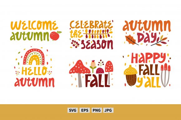Autumn Quotes. Fall Vector Clipart Graphic Illustrations By FindsArtDesign