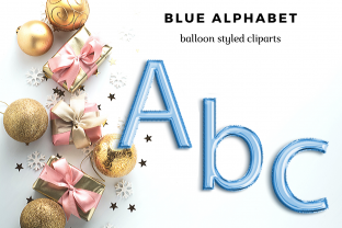 Baby Blue Foil Balloon Alphabet Set Grafik Illustrationen von Aneta Design