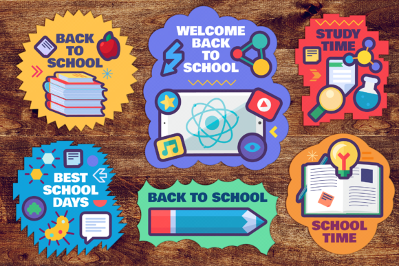 Print on Demand: Back to School Stickers Set Graphic Objects By barsrsind