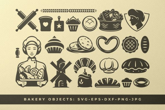 Bakery and Food Silhouettes and Icons Gráfico Objetos Por vasyako1984