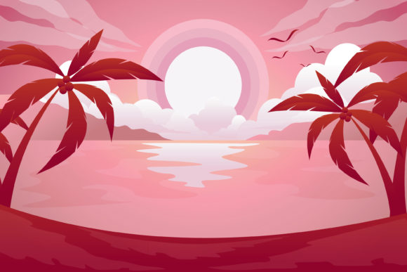Print on Demand: Beach Amazing Color Sunset Graphic Illustrations By edywiyonopp