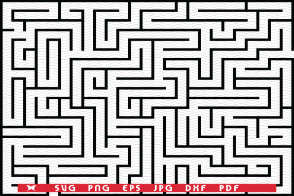 Black Rectangle Maze Isolated on White B Graphic Illustrations By matratko