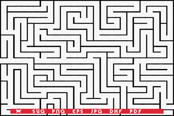 Black Rectangle Maze Isolated, Pattern Graphic Illustrations By matratko