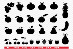 Black Silhouettes of Fruits, Icon Set Graphic Illustrations By DesignStudioRM