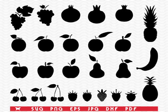 Black Silhouettes of Fruits, Icon Set Graphic Illustrations By matratko