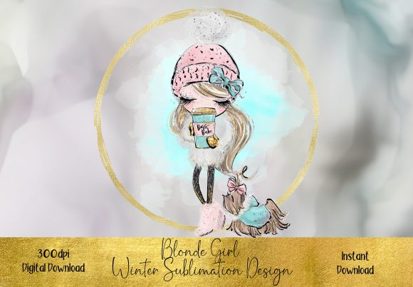 Blonde Winter Girl Sublimation Design Graphic Illustrations By STBB