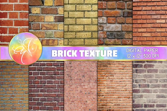 Brick Wall Digital Paper, Brick Texture Graphic Backgrounds By paperart.bymc