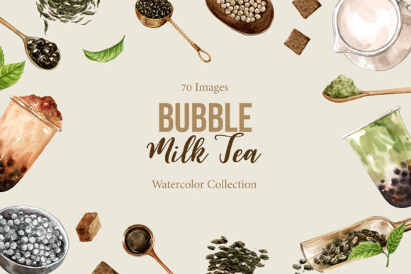 Bubble Milk Tea Watercolor Set Graphic Illustrations By WatercolorEps