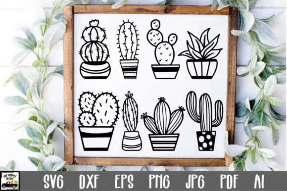 Print on Demand: Cactus Cut Files - Succulent Gráfico Crafts Por oldmarketdesigns