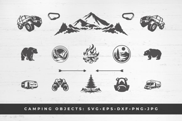 Camping and Mountains Vector Clipart Graphic Objects By vasyako1984