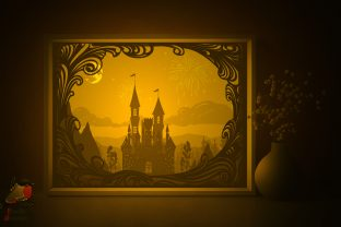 Castle Tower Light Box Template Graphic 3D Shadow Box By SweetieGraphics