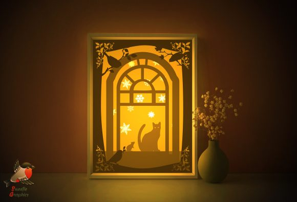 Cat Mouse Friendship Light Box Template Graphic 3D Shadow Box By SweetieGraphics
