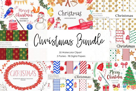 Christmas Bundle Clipart,Digital Papers Graphic Illustrations By BonaDesigns