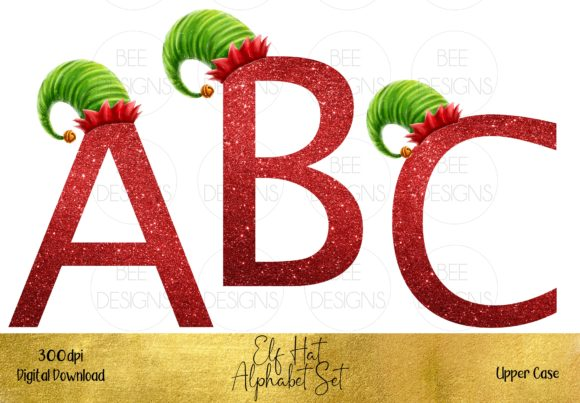 Christmas Elf Hat Alphabet Set Graphic Illustrations By STBB
