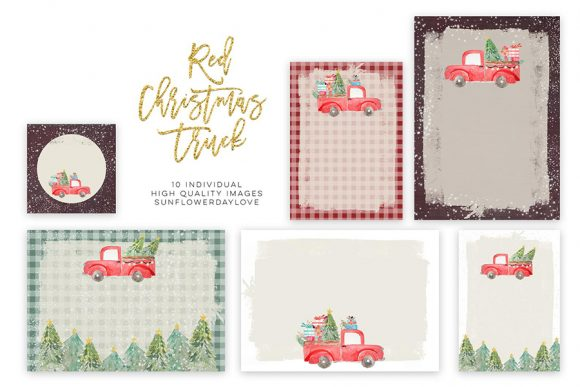 Print on Demand: Christmas Invitation Paper, Clip Art Graphic Illustrations By SunflowerLove