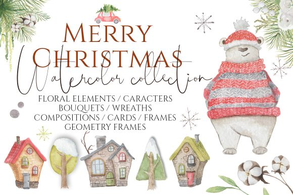 Christmas Watercolor Characters Graphic Illustrations By EvgeniiasArt - Image 1