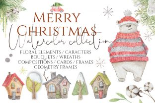 Christmas Watercolor Characters Graphic Illustrations By EvgeniiasArt