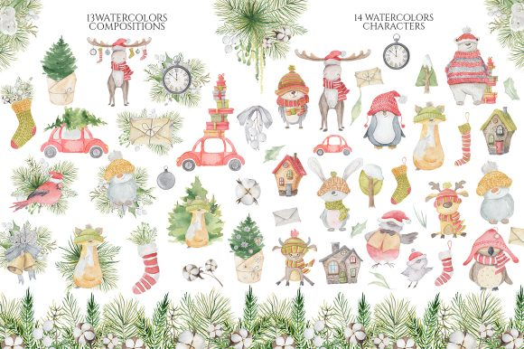 Christmas Watercolor Characters Graphic Illustrations By EvgeniiasArt - Image 2
