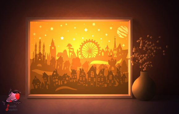 City Town Silhouette Lightbox Template Graphic 3D Shadow Box By SweetieGraphics