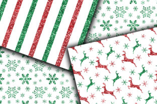 Print on Demand: Classic Christmas Glitter Digital Paper Graphic Backgrounds By oldmarketdesigns 3