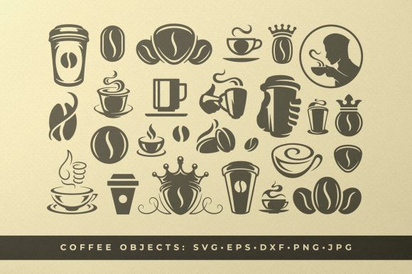 Coffee Beans and Cups Silhouettes and Icon Graphic Objects By vasyako1984