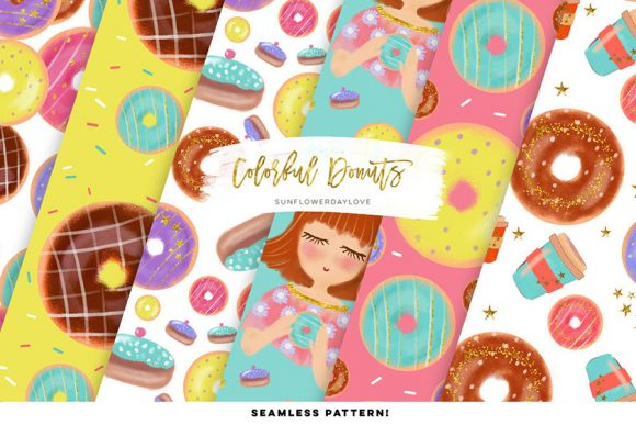 Print on Demand: Colorful Donut Pattern Images, Clip Art Graphic Illustrations By SunflowerLove