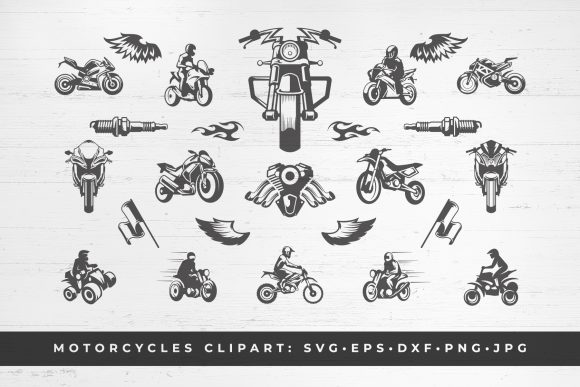 Custom Motorcycles Set Silhouettes Graphic Objects By vasyako1984