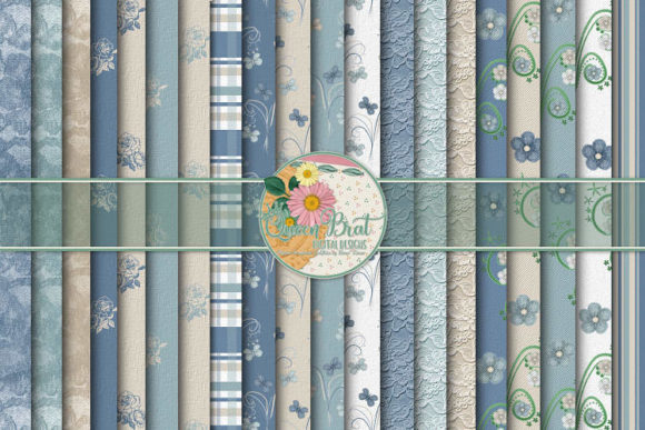 Print on Demand: Delicate Blues Papers Graphic Backgrounds By QueenBrat Digital Designs