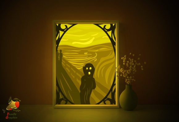 Edvard Munch the Scream Light Box Graphic 3D Shadow Box By SweetieGraphics