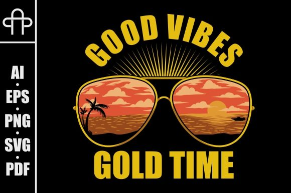 Print on Demand: Eyeglasses - Good Vibes Gold Times Graphic Illustrations By Andypp