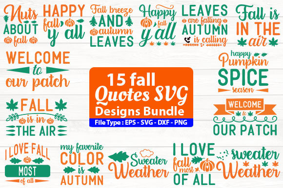 Print on Demand: Fall Quotes Design Bundle Graphic Print Templates By Design Store